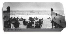 Storming The Beach On D-day  Portable Battery Charger by War Is Hell Store