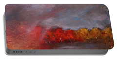 Stormy Fall Landscape Red Yellow Leaves Portable Battery Charger