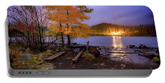 Portable Battery Charger featuring the photograph Stormy Night At Round Lake by Cat Connor