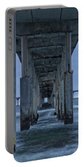 Stormy Pier In Ocean Beach Portable Battery Charger