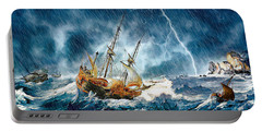 Portable Battery Charger featuring the digital art Stormy Seas by Pennie McCracken
