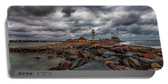 Stormy Sunrise Over Scituate Lighthouse Portable Battery Charger
