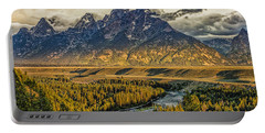 Stormy Sunrise Over The Grand Tetons And Snake River Portable Battery Charger