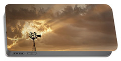 Stormy Sunset And Windmill 03 Portable Battery Charger