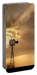 Stormy Sunset And Windmill 04 Portable Battery Charger