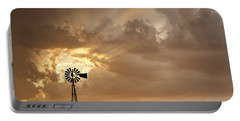 Stormy Sunset And Windmill 05 Portable Battery Charger