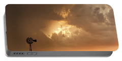 Stormy Sunset And Windmill 08 Portable Battery Charger