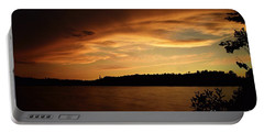 Stormy Sunset On Amoeber Lake Portable Battery Charger