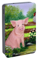 Portable Battery Charger featuring the painting Storybook Pig by Sandra Estes