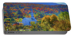 Portable Battery Charger featuring the photograph Stowe Vermont Church In Fall by Jeff Folger