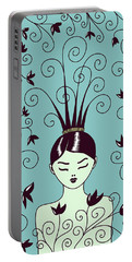 Strange Hairstyle And Flowery Swirls Portable Battery Charger