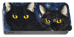 Strangeling's Felines - Black Cat Tortie Cat Portable Battery Charger