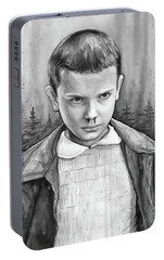 Stranger Things Fan Art Eleven Portable Battery Charger by Olga Shvartsur
