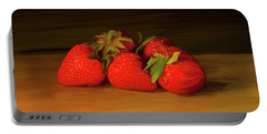 Strawberries 01 Portable Battery Charger by Wally Hampton