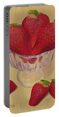 Portable Battery Charger featuring the painting Strawberries In Crystal Dish by Nancy Nale