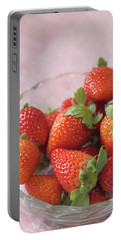 Strawberries Portable Battery Charger by Rachel Mirror