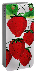 Portable Battery Charger featuring the painting Strawberries by Rodney Campbell