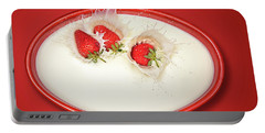 Strawberries Splashing In Milk Portable Battery Charger
