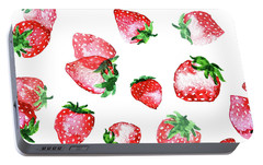 Strawberries Portable Battery Charger by Varpu Kronholm