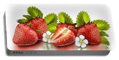 Strawberries Portable Battery Charger by Veronica Minozzi