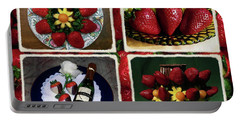Strawberry Collage Portable Battery Charger by Sally Weigand
