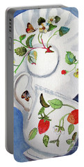 Portable Battery Charger featuring the painting Strawberry Cup And Saucer by Sandy McIntire