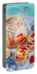 Strawberry Lemonade At Pool Side Portable Battery Charger