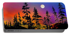 Portable Battery Charger featuring the painting Strawberry Moon Sunset by Hanne Lore Koehler