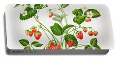 Strawberry Plant Portable Battery Charger by Sally Crosthwaite