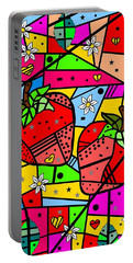 Strawberry Popart By Nico Bielow Portable Battery Charger