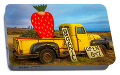 Strawberry Sign In Pickup Truck Portable Battery Charger by Garry Gay