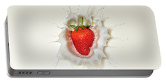 Strawberry Splash In Milk Portable Battery Charger
