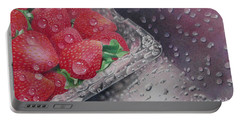 Strawberry Splash Portable Battery Charger by Pamela Clements