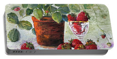 Portable Battery Charger featuring the painting Strawberry Still Life by Marlene Book