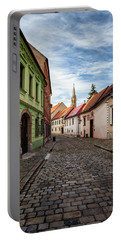 Street And Houses In Bratislava Old Town Portable Battery Charger