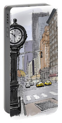Street Clock On 5th Avenue Handmade Sketch Portable Battery Charger
