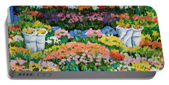 Street Flower Stand Portable Battery Charger by Alexandra Maria Ethlyn Cheshire