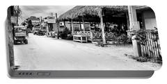 Street Scene On Caye Caulker Portable Battery Charger