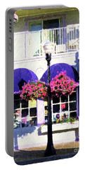 Streetside Balcony Portable Battery Charger by Desiree Paquette