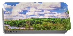 Striking Clouds Above Small Water Inlet And Green Trees Portable Battery Charger