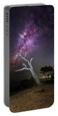 Striking Milkyway Over A Lone Tree Portable Battery Charger
