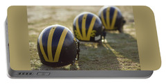 Striped Helmets On A Yard Line Portable Battery Charger