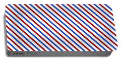 Stripes Diagonal Carmine Red Cobalt Blue Simple Modern Portable Battery Charger