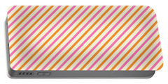 Stripes Diagonal Orange Pink Peach Simple Modern Portable Battery Charger