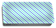 Stripes Diagonal Turquoise Blue Summer Simple Modern Portable Battery Charger