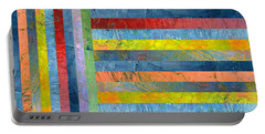 Stripes With Blue And Red Portable Battery Charger by Michelle Calkins