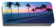 Strolling Along The Beach Under A Majestic Sunset Portable Battery Charger