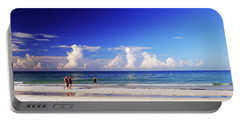 Portable Battery Charger featuring the photograph Strolling The Beach by Gary Wonning