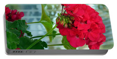 Stunning Red Geranium Portable Battery Charger by Will Borden