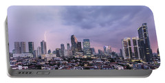 Stunning Sunset Over Jakarta, Indonesia Capital City Portable Battery Charger